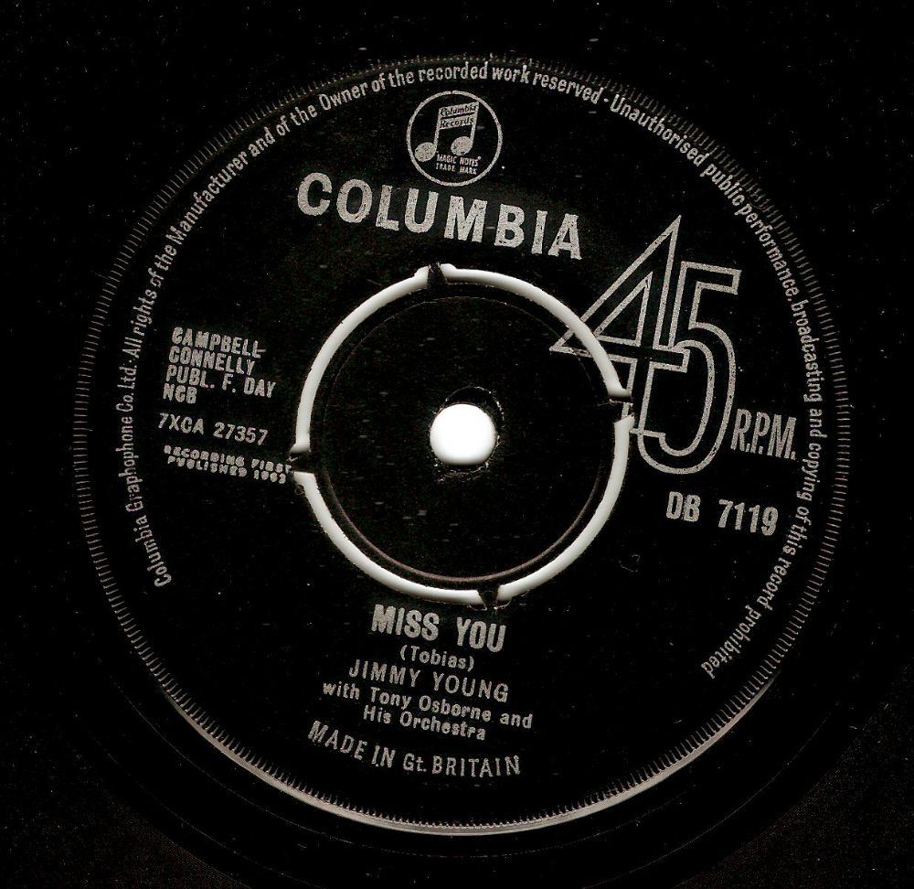 JIMMY YOUNG Miss You Vinyl Record 7 Inch Columbia 1963